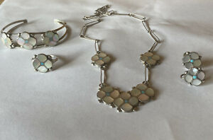 Vintage 1970's Zuni Sterling Silver Inlay Flower Cuff/Necklace/Earrings/Ring Set