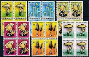 [P15191] Chad 1985 : Mushrooms - 4x Good Set Very Fine MNH Stamps in Blocks