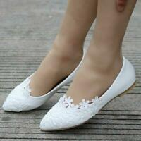 Women's Ballet Flats White Lace Wedding Shoes Flat Heels Shoes Pointed Toe Zsell