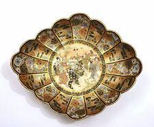 Meiji Japanese Satsuma Earthenware Scallop Rim Dish Plate Geisha Samurai Marked