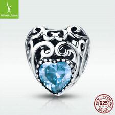 925 Sterling Silver Aquamarine Charm Bead March Birthstone Fit Birthday Bracelet