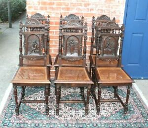 Set Of 6 French Antique Carved Oak Brittany Dining Chairs