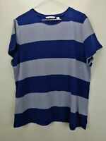 Isaac Mizrahi Live! Rugby Striped Knit T-shirt Ink Blue XL A278275