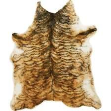 "TIGER PRINT Faux Fur Area RUG 66""x65"" Acrylic Fiber Faux Leather Backing Animal"