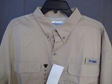 NWT Columbia PFG Small Stream Vented Fishing Short Sleeve Shirt Mens XXL Khaki