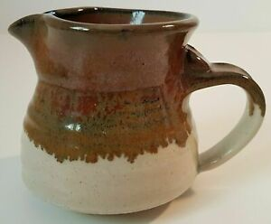 Studio Art Pottery Pitcher Canadian Creamer Beige Brown Red Signed Pat