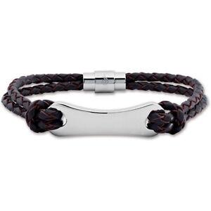 Masculine Mens Stainless Steel Brown Or Black Leather Engravable Bracelet