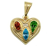 Heart Pendant with CZ 20 inch Figaro Chain 18k Gold Plated -  Heart Necklace