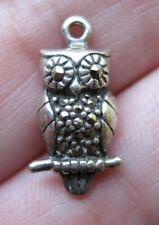 VINTAGE Sterling Silver OWL w/ Marcasites Bracelet Charm
