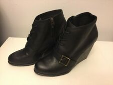 Fossil Charlene  Black Leather Wedge Heel Fashion Boots size 9.5