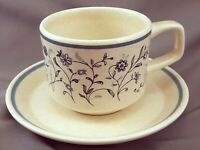 Lenox Blue Breeze Coffee Tea Cup and Saucer 8 oz Speckled Temperware Stoneware