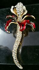 """Brooch """" Lily """" 88x43mm Brass Yellow - Gold Plated Enamelled Great Quality"""