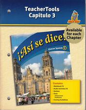 GLENCOE SPANISH 4 ASI SE DICE!:  TEACHERTOOLS CAPITULO 3 - NEW