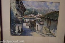 SPANISH VILLAGE WITH BALCONIES AND MOUNTAINS--Exquisitively detailed watercolor
