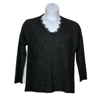 Soft Surroundings Sofia Gray Long Sleeve Fuzzy Sweater Medium Charcoal Heather