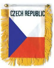 """Czech Republic Mini Banner Flag 4 x 6"""" with Brass Staff & Suction Cup - New"""