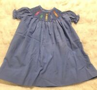 Orient Expressed Boutique Girls Smocked Crayon Dress Blue Short Sleeve Size 1