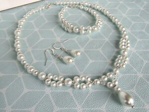 White Pearl Necklace Bracelet And Earring Set Bridal Bridesmaids Weddings (ga32)