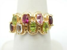 10Kt Yellow Gold 2 Tcw Multi Gem Band Ring Size 6.75