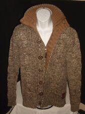 No Excess Brown Tones Cotton Blend Full Zip W/Buttons Knit Jacket  Sz. M