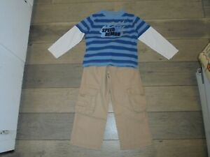 Gymboree Turbo Racer beige cargo pants & matching Speed Demon shirt set size 5