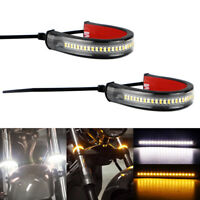 Motorcycle LED Strip Light Indicator Turn Signal Yellow White Sequential Flowing