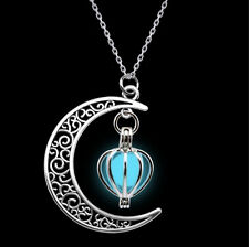 """1.5"""" CRESCENT MOON with GLOW IN THE DARK Dangle Pendant 18"""" Necklace Luminous"""