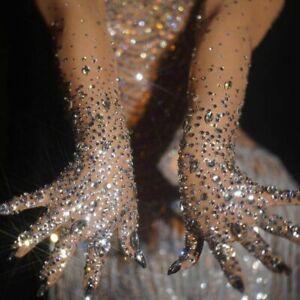 Rhinestones Luxury Stretch Gloves Women Sparkly Crystal Mesh Long Gloves Dancing