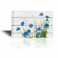 wall26 - Canvas Wall Art - Small Blue Flowers on Rustic Wood Background -12x18