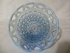 Blue Opalescent Imperial Lace Edge Sugar Cane Bowl Depression Glass FREE SHIP