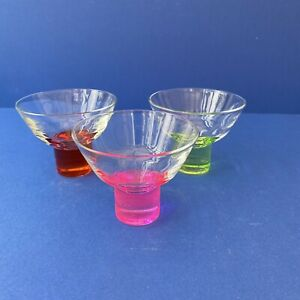 Set of 3 Retro Vintage 1960/1970's Coloured Glass Footed Sundae Dishes Bowls