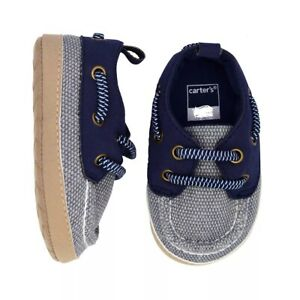 Carter's Infant Baby Boy Size 3 Navy Blue Boat Crib Shoes 6-9 Months NEW