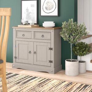 Corona Grey 2 Door 2 Drawer Small Sideboard Cupboard - Mexican Solid Pine
