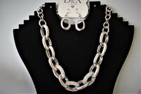 D&XRHODIUM SILVER PLATED CRYSTALS CHUNKY CHAIN BLING NECKLACE GIFT WEDDING PARTY