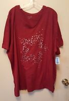WOMENS PLUS SIZE 4X 30/32 TOP NWT CATHERINES TUNIC STARS