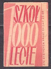 POLAND 1959 Matchbox Label - Cat.Z#136a-pr. 1000 Schools for 1000 years (Polish)