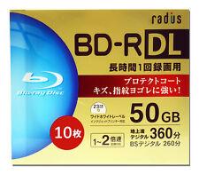 10 Radius Bluray DVD Discs BD-R DL 4X Speed 50GB Bluray Media Blank Discs tdk