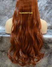 """24"""" BROWNISH RED FLIP IN SECRET CLEAR WIRE HAIR PIECE EXTENSIONS NO CLIP IN/ON"""