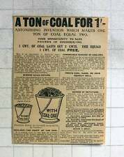 1915 Astonishing Invention, Ton Of Coal For One Shilling, Coal-ore