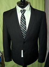 "NWT VERSACE COLLECTION men 2 button black grey stripe wool suit size 48 38 W 32"""