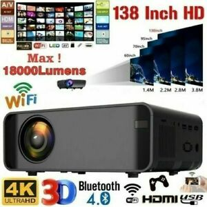 18000lm 1080P 3D LED 4K Mini Wifi Projector Heimkino Beamer Multimedia HDMI