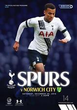 Tottenham Hotspur Vs Norwich City Spurs Programme 26.12.15 Mint Condition