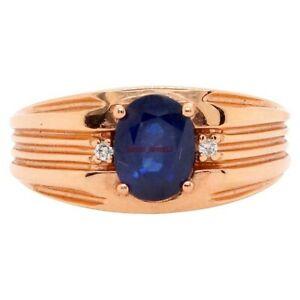 Natural Blue Sapphire Gemstone with Gold Plated 925 Sterling Silver Ring AJ322