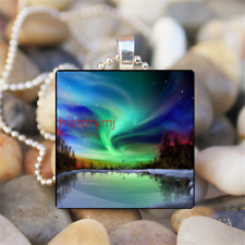 Northern light Aurora Borealis Art Glass Dome Chain Pendant Necklace Jewelry