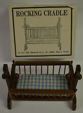 Dollhouse Miniature Shackman Wooden Baby's Rocking Cradle in box