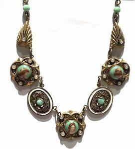 """Vtg Czech Choker Necklace Portrait Cameo Peking Glass Bead Faux Pearl Enamel 17"""""""