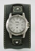 Fossil Watch Mens Gray Leather Silver Stainless Date Water Resistant 100m Quartz