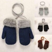Gloves Girls Winter Mittens with Neck Baby Boys Warm Knitted Toddler String UKX