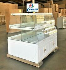 "New 58"" Island Bakery Bread Showcase Donuts Pastry Display Case Shelf Curve"