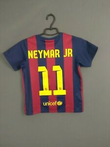 Neymar Barcelona Jersey 2014 2015 Boys Kids 7-8 y Shirt Football Spain Nike ig93